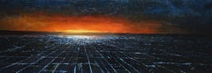 Near Light, Los Angeles night scene, abstracted realism, oil on panel, framed