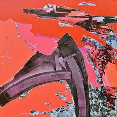 Urban Rouge. 21st C original contemporary abstract painting by Pascal Bost.