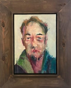 """Untitled"" Expressionism, Acrylic on Paper, Artist Framed, Raiman Rodriguez Moya"
