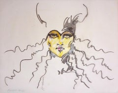 """Fearless"", Fashion Illustration, Ink, Chalk on Vellum, Barbara Hulanicki, 2016"