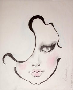 """One Eye"", Illustration, pencil, ink, chalk on velum, Barbara Hulanicki, 2016"