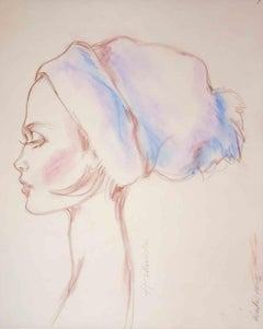 """Winter"", Fashion Illustration, Chalk on Vellum, Barbara Hulanicki, 2016"