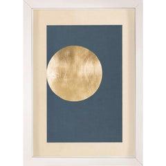 Morning Glory, Blue 1, Gold Leaf, Framed
