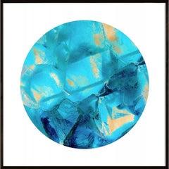 Geo Circles 1, blue and black, gold leaf, framed