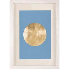 Morning Glory, Blue 2, Gold Leaf, Framed
