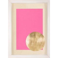 Morning Glory, Pink 3, Gold Leaf, Framed