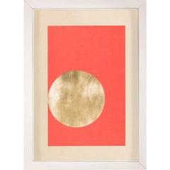 Morning Glory, Red 1, Gold Leaf, Framed