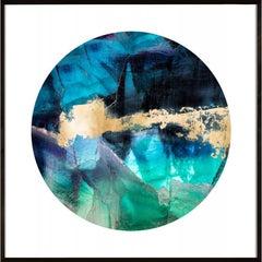 Geo Circles 2, blue and black, gold leaf, framed