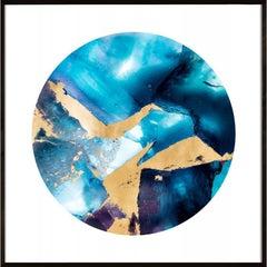 Geo Circles 3, blue and black, gold leaf, framed