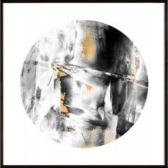 Geo Circles 3, black and white, gold leaf, framed