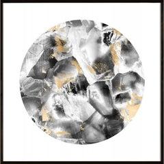 Geo Circles 2, black and white, gold leaf, framed