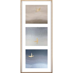 Birds of Flight, No. 3, gold leaf, framed