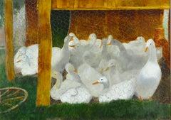 Coop of Ducks - 20th Century British Oil Painting