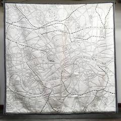 Customisable embroidered textile map: London