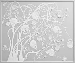 Helen Amy Murray - Skulls & Roses - framed, sculpted leather artwork