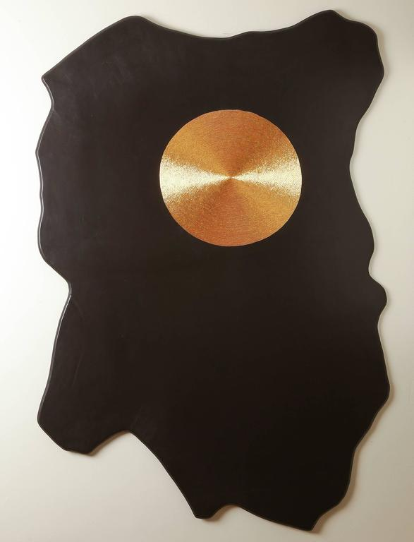 """""""Cycle of Time"""" - gold embroidered leather wall mounted panel by Anita Carnell"""