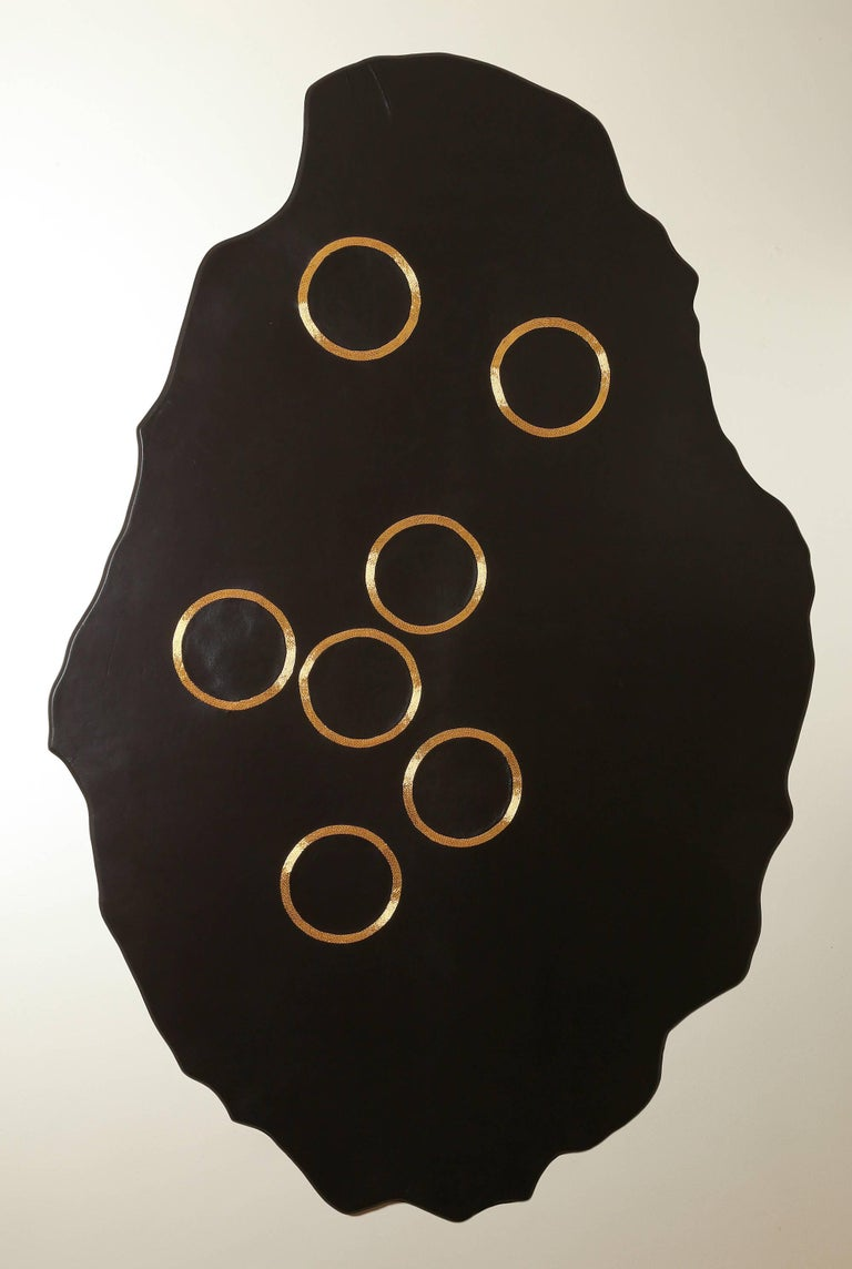 Chance of Seven - leather and gold wall mounted panel by Anita Carnell