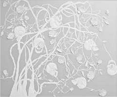 Skulls and Roses, Framed Sculpted Leather Artwork