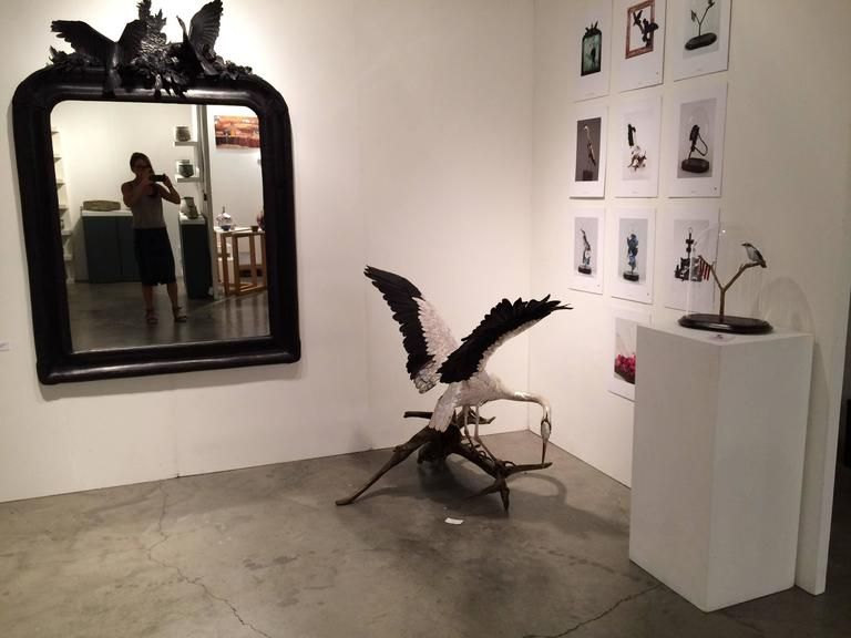 Self Reliance 1 - a life size heron sculpture made of hand-tooled leather 4