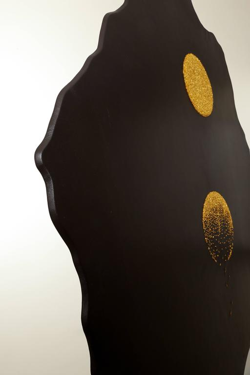 """""""Revealing Something New"""" gold embroidered leather wall hanging by Anita Carnell 2"""