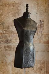 Anatomical hand-tooled leather mannequin