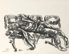 "Konstantin Bokov, ""Resting Place,"" China Marker on Paper, 1984, Original"