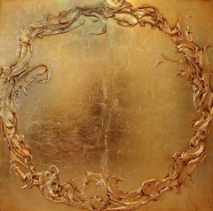 """Cody Hooper. """"Warm Embrace"""" Textural gold leaf on wood panel. Original Abstract."""