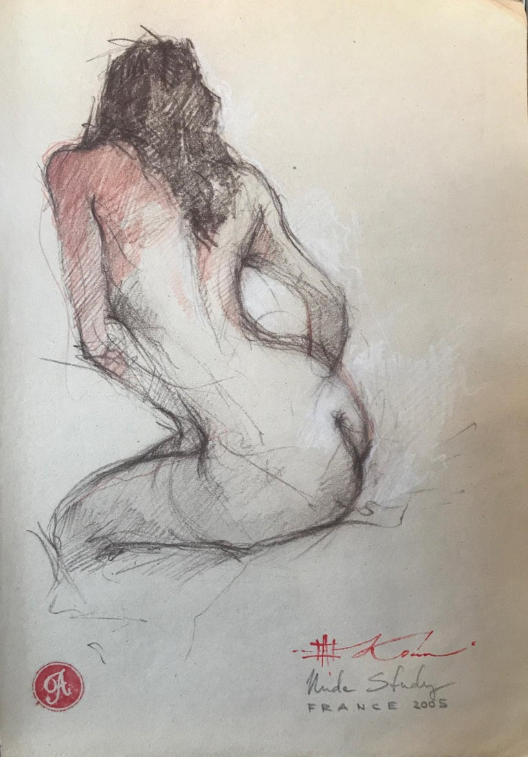 "Andre Kohn. ""Nude Study. France."" Pencil drawing from artists private collection"