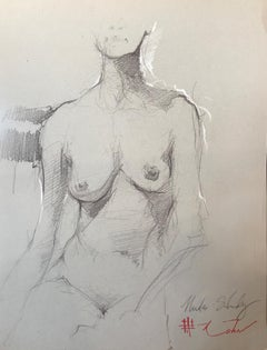 "Andre Kohn. ""Nude Study"" Nude drawing from the artists private sketchbook"