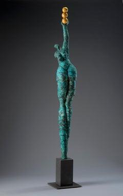 """Jane Burton. """"On Point"""" Blue Ceramic, Oversized Figurative Original Sculpture."""