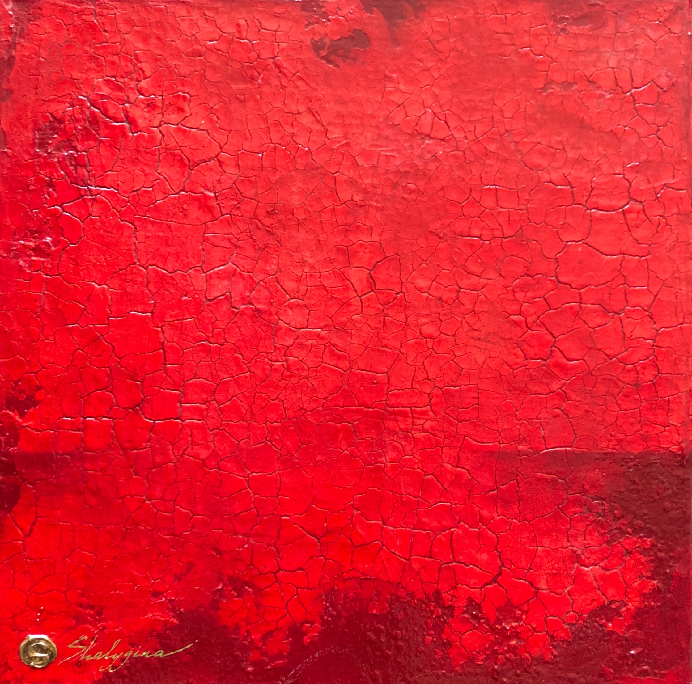Small Red Monochromatic Minimalist Modern Contemporary Abstract Painting 16x16