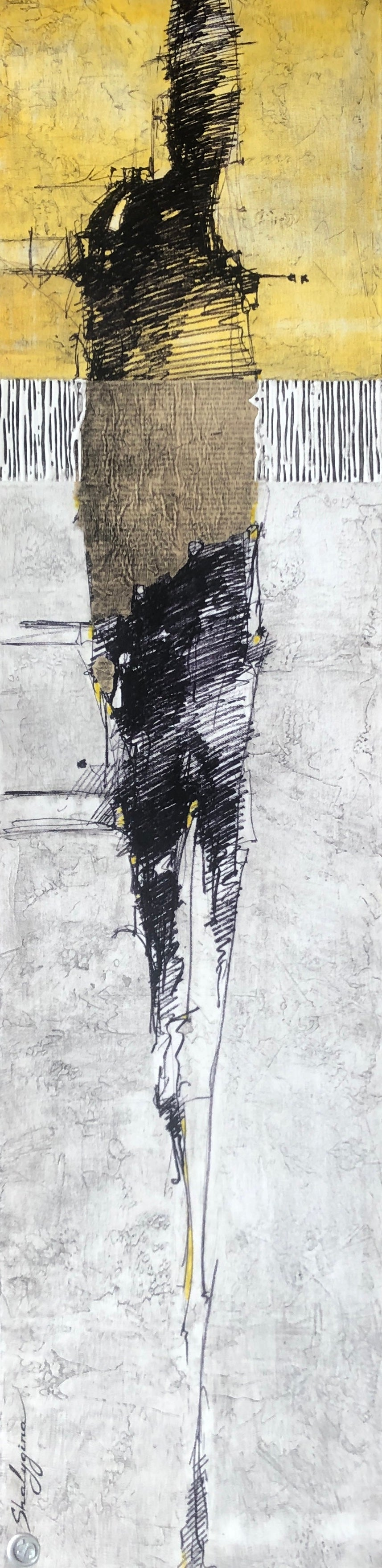 """Contemporary Figurative Abstract Distressed Yellow Gray Figure 48""""x12"""" Unframed"""