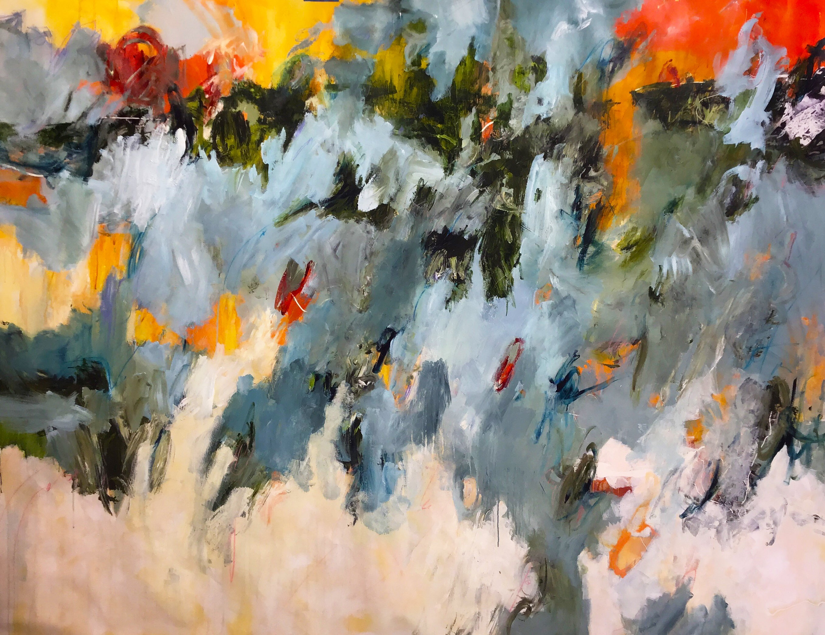 Extra Large Orange Red Blue Yellow Cream Contemporary Floral Abstract 68x89