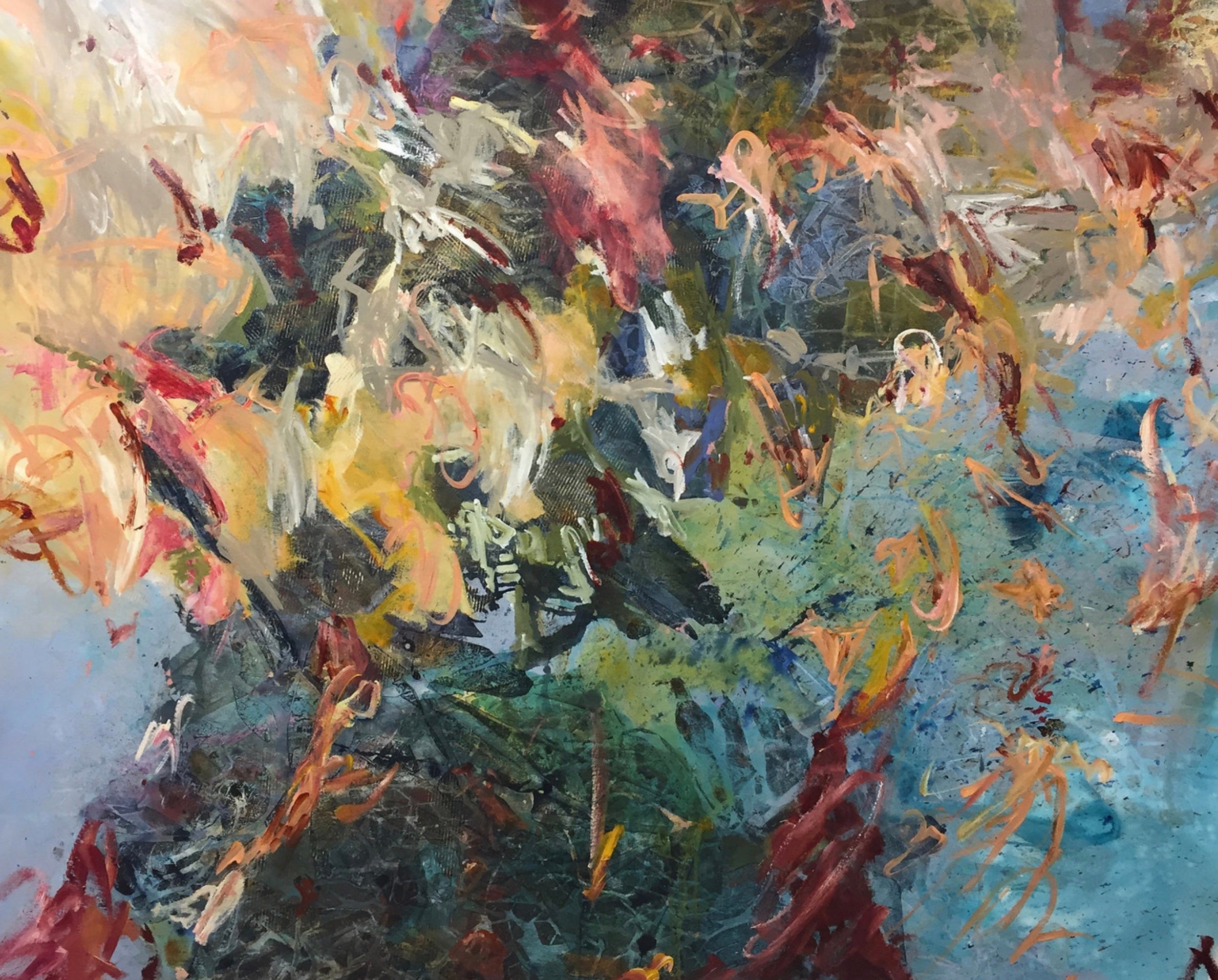 Large Blue Yellow Green Pink Soft Pastels Contemporary Abstract Floral 64x50