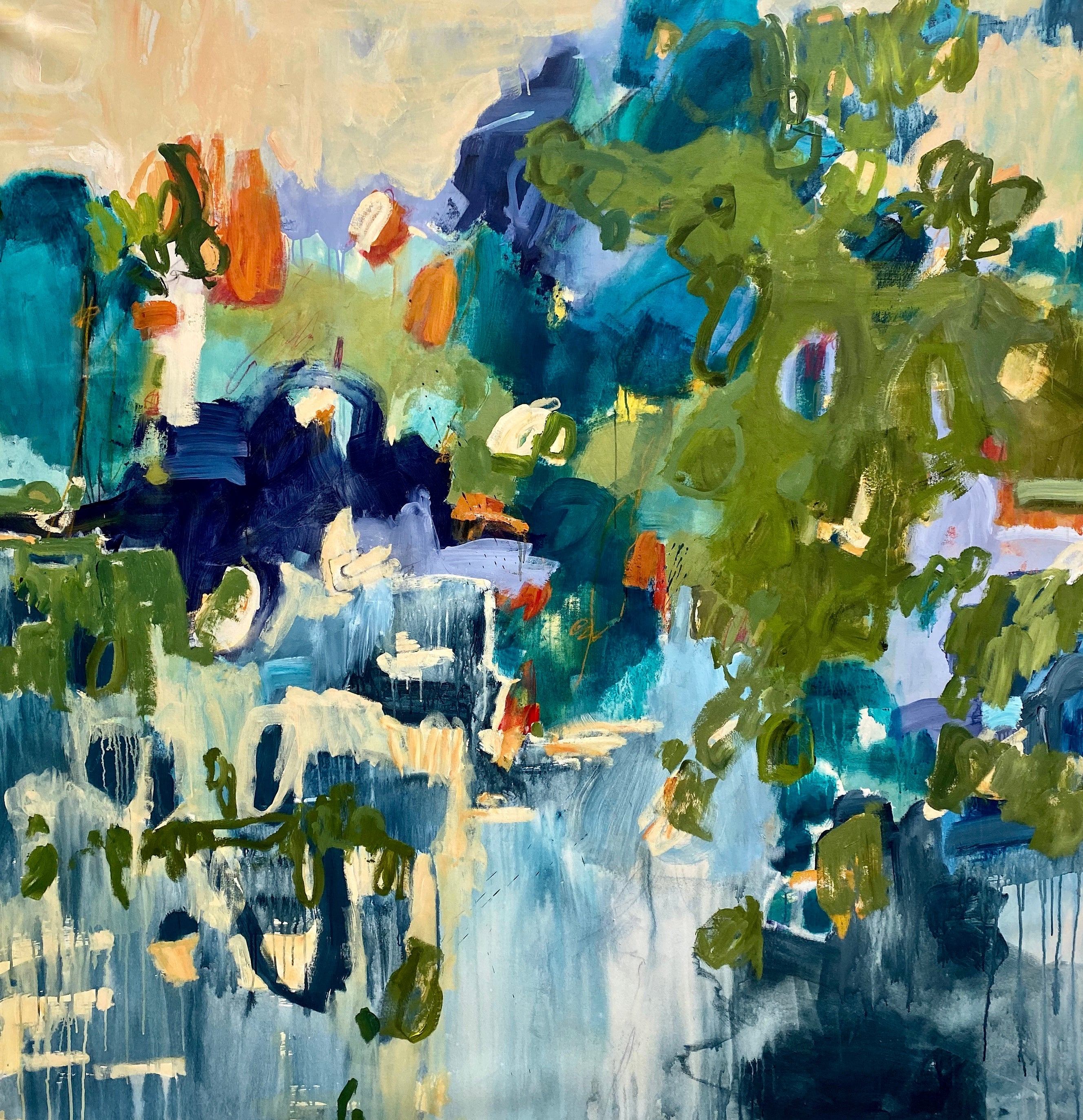 Extra Large Blue Green Orange Yellow Floral Abstract Contemporary Painting 75x75
