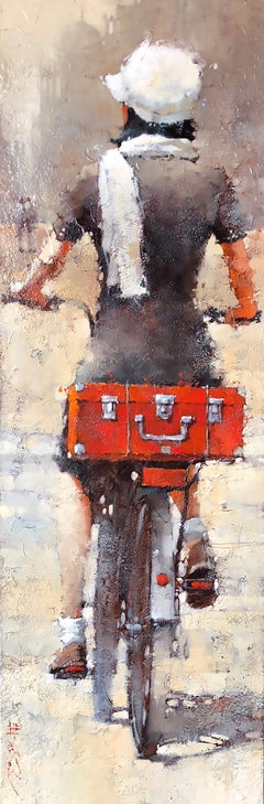 """Andre Kohn. """"Girl with a Red Suitcase"""". Figurative Oil on museum wrap canvas."""