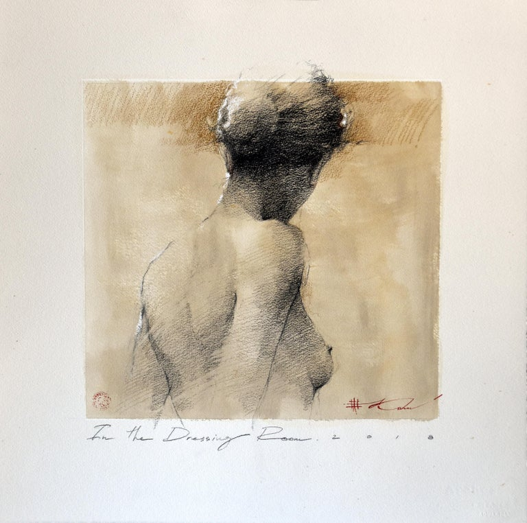 "Andre Kohn. ""In the Dressing Room"" Charcoal pencil original nude framed drawing."