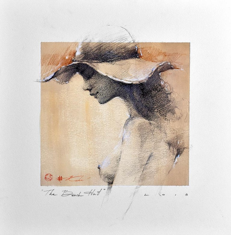 "Andre Kohn  Nude - Andre Kohn. ""The Beach Hat"" Charcoal pencil original nude framed drawing."