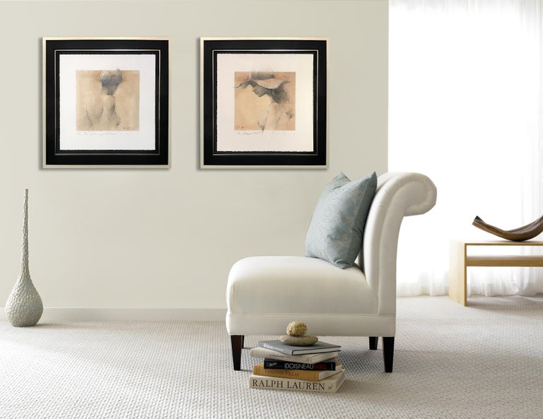 A classically, elegant nude drawing by Andre Kohn. This work is created one the finest Italian paper with hand deckled edges. The drawing is mounted on a hand stretched silk liner, with gold fillet & frame. As seen in the interior photo, you can