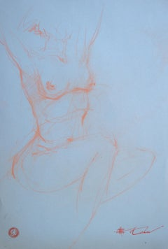 "Andre Kohn. ""Nude Study"" Pencil nude drawing from the artists private collection"