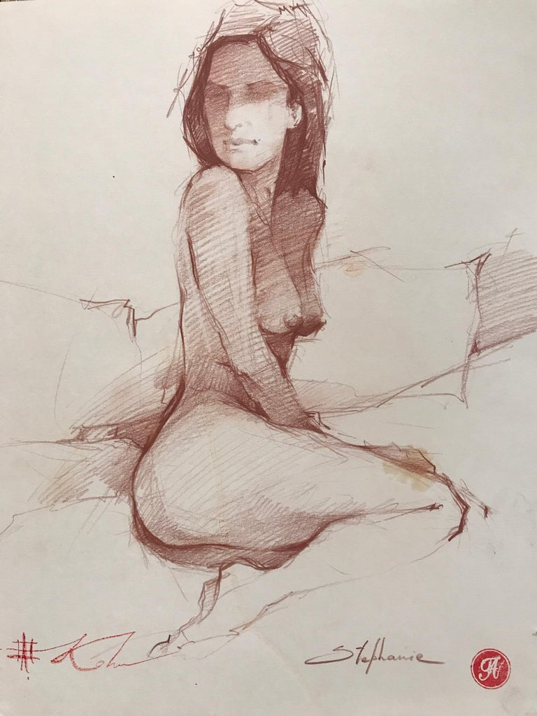 "Andre Kohn. ""Stephanie"" Nude Pencil drawing from the artists private collection."