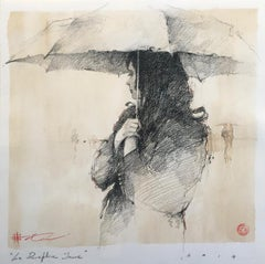 "Andre Kohn ""Le Parapluie Jaune"" Original ""Yellow Umbrella"" French style drawing."