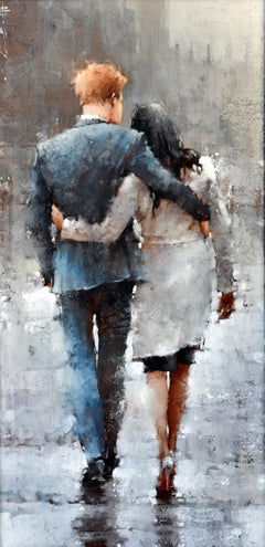 "Andre Kohn. ""The Modern Royal Couple"" Impressionist, Figurative Oil Painting."