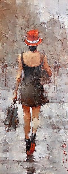 "Andre Kohn. ""Little Black Dress"" Original Modern Impressionist Oil Painting."