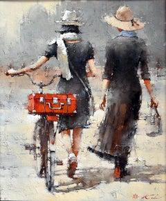 "Andre Kohn. ""Sisters, series #11"" Original Modern Impressionist Oil Painting"