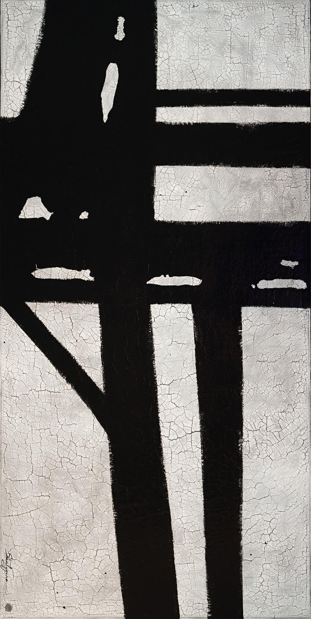 Oversized Black White Franz Kline Inspired Modern Contemporary Abstract 96x48