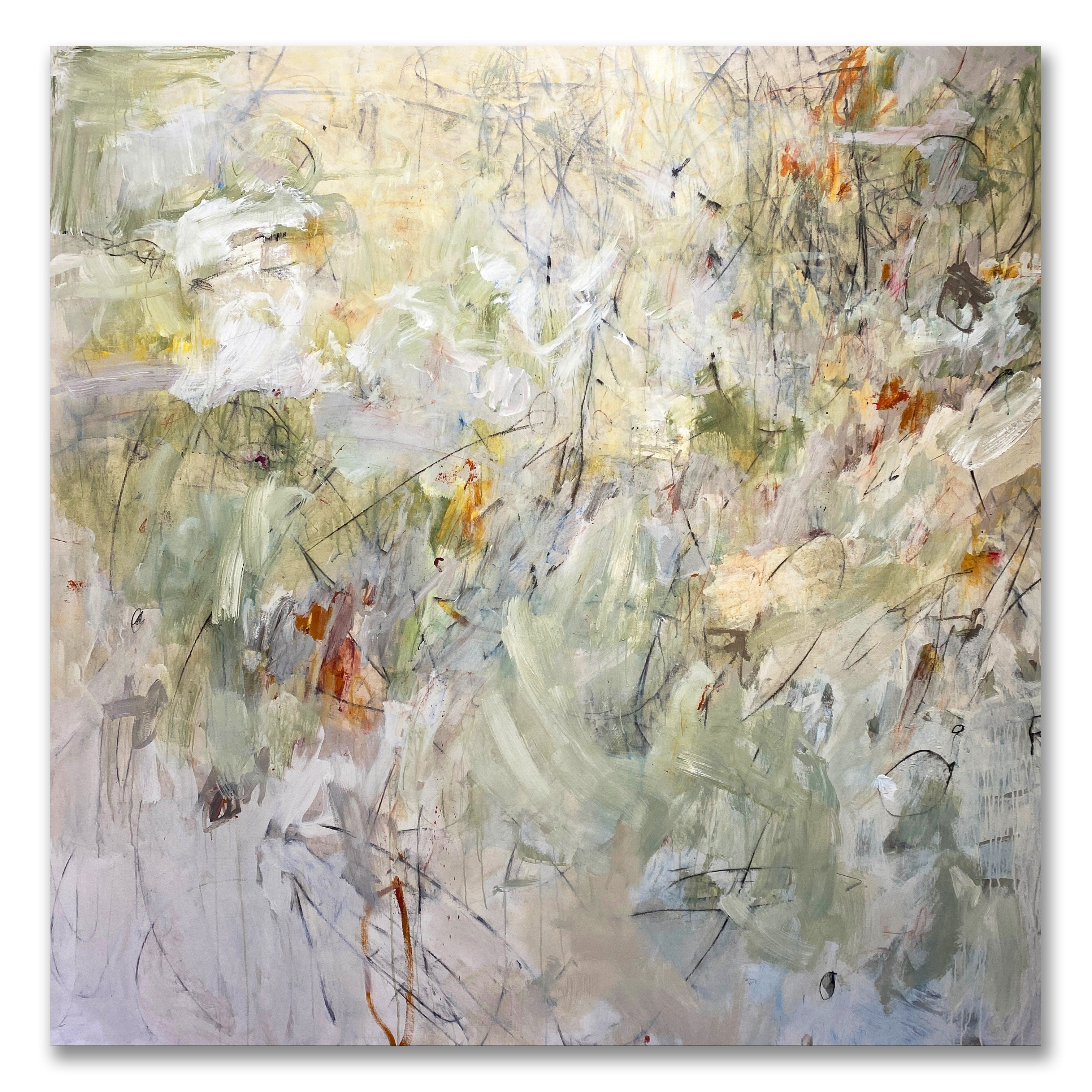 Oversized Contemporary Floral Abstract White Pastel Green Yellow Orange 76x76
