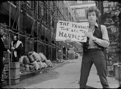 """Bob Dylan in cue card scene """"The Vandals""""  1965"""