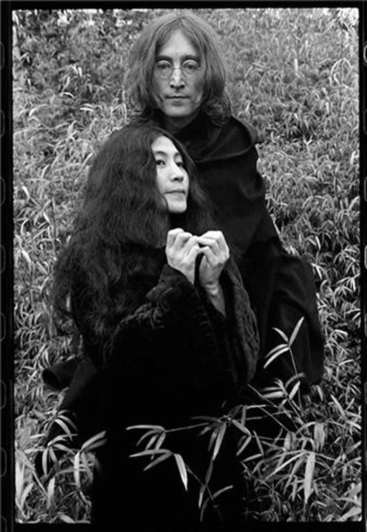 Ethan Russell Black and White Photograph - John Lennon and Yoko Ono