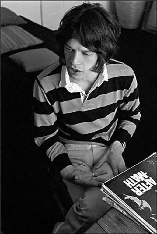 Ethan Russell Black and White Photograph - Mick Jagger, London, England 1968